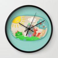 happy birthday Wall Clocks featuring happy birthday by Lidija Paradinović Nagulov - Celandine