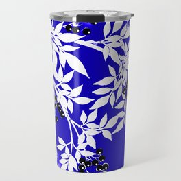 LEAF AND TREE BRANCHES BLUE AND WHITE BLACK BERRIES Travel Mug