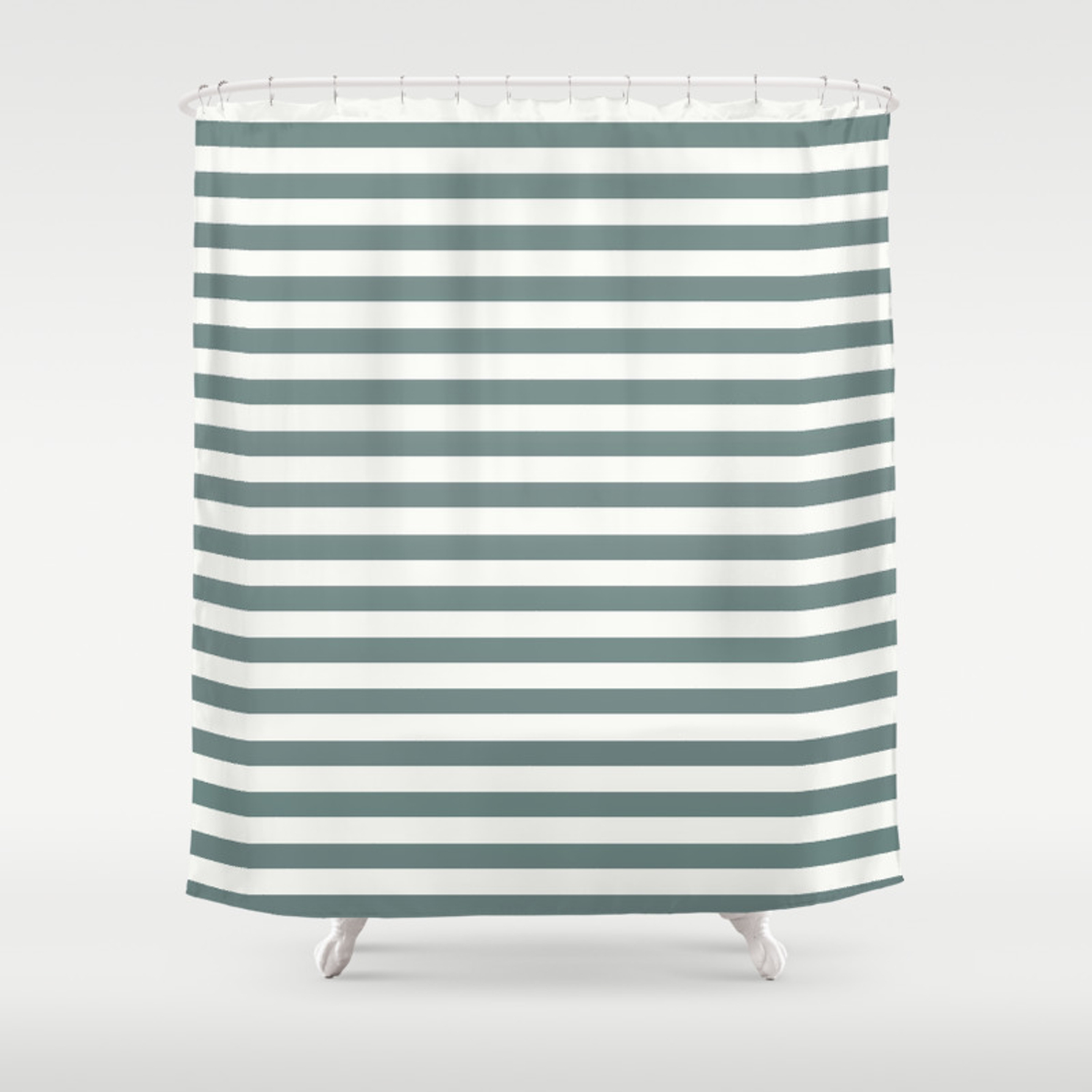 Blue Green Stripes Shower Curtain