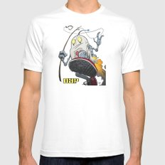 dY? White SMALL Mens Fitted Tee