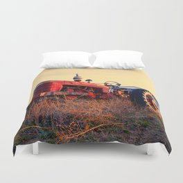 old tractor red machine vintage Duvet Cover
