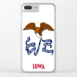 flag of Iowa, america, usa, midwest,Council Bluffs, Iowan,Des Moines,Cedar Rapids,Davenport,sioux Clear iPhone Case