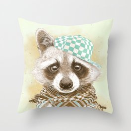 Rocco Raccoon - earth tones Throw Pillow