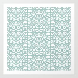cadence damask - teal Art Print