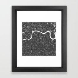 Gray on White London Street Map Framed Art Print