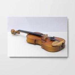 violin on a gray background Metal Print