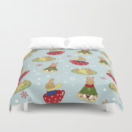 Tea Time in the Snow Duvet Cover