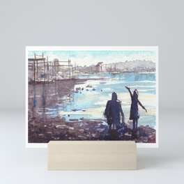 Father and doughtier contemplating the low Tide. River Itchen (St. Denys, Southampton, UK) Mini Art Print