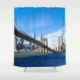 Famous Brooklyn Bridge Manhattan City Skyline Freedom Tower At Sunny Day Ultra HD Shower Curtain
