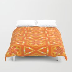 Orange and Yellow Stars and Hearts 9055 Duvet Cover
