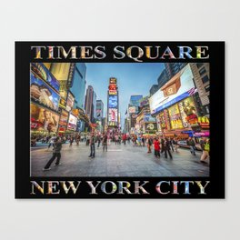 Times Square Sparkle (with type on black) Canvas Print