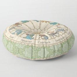 Vintage Astrology Zodiac Wheel Green Floor Pillow