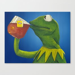 Painted Meme Frog Drinking Tea but it's none of my business Canvas Print