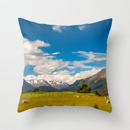 Beautiful Pastoral Alpine Landscape in New Zealand Throw Pillow