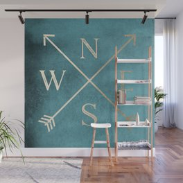 Gold on Turquoise Distressed Compass Adventure Design Wall Mural