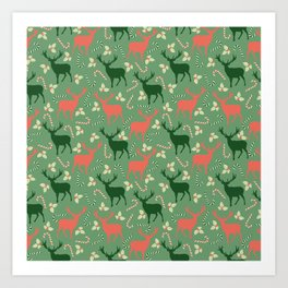 Hand painted Christmas green coral deer candy pattern Art Print