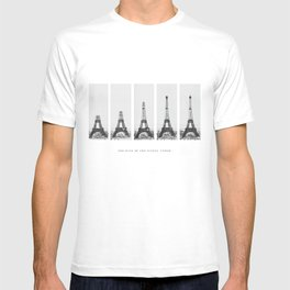 1888-1889 The Rise of the Eiffel Tower Construction Sequence black and white photography T-shirt