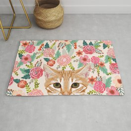 Orange Tabby floral cat head cute pet portrait gifts for orange tabby cat must haves Rug