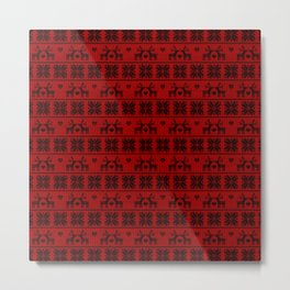 Antiallergenic Hand Knitted Red Winter Wool Pattern - Mix & Match with Simplicty of life Metal Print
