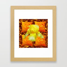 YELLOW GERMAN BEARDED IRIS FLOWER ON GOLD ART Framed Art Print