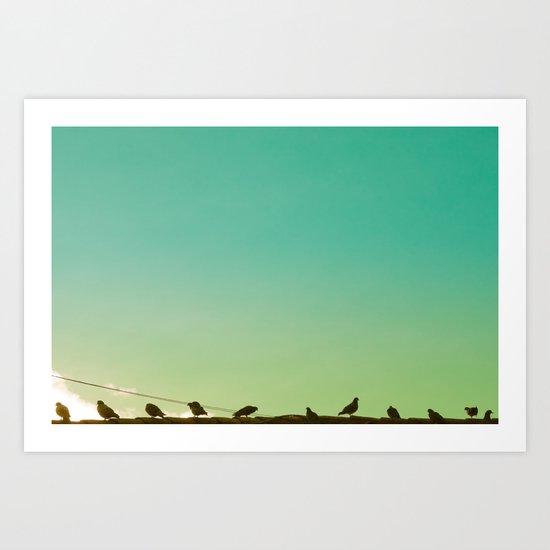 Birds and retro turquoise sky Art Print