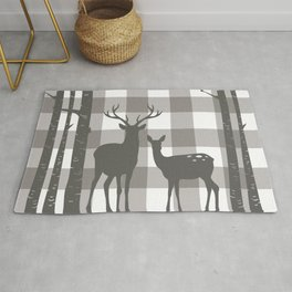 Deer & Birch Grey Plaid Rug