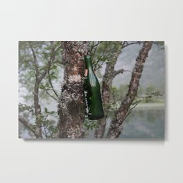 Glass Bottle Nailed to Tree Metal Print