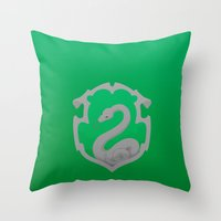 slytherin Throw Pillows featuring Slytherin by Tom Oxnam