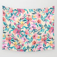 peach Wall Tapestries featuring Peach Spring Floral in Watercolors by micklyn