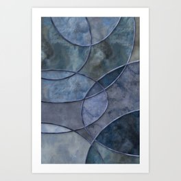 Eclectic Marble Shapes In Navy And Indigo Blue Colors Art Print