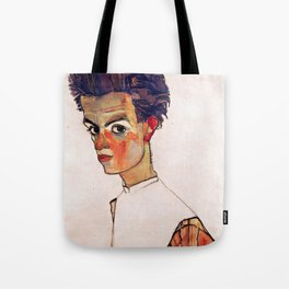 Egon Schiele - Self-Portrait with Striped Shirt 1910 Tote Bag