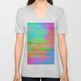 Neon colored abstract geometric triangle design Unisex V-Neck