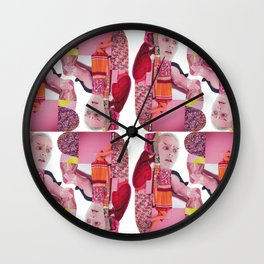 pinky was ready - a pink and red modern collage Wall Clock