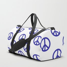 Peace (Navy Blue & White Pattern) Duffle Bag