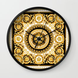 Vintage baroque illustration pattern, antique elements with golden frame on black background. Luxury victorian floral golden elements in a circle and greek lines. Wall Clock