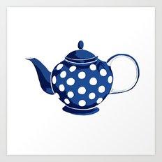 Blue Polka-Dot Teapot Art Print