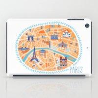 paris map iPad Cases featuring Paris Map by Emily Golden