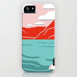 Red mountain lakeside retreat iPhone Case