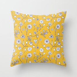 Hand-drawn garden sunshine Throw Pillow