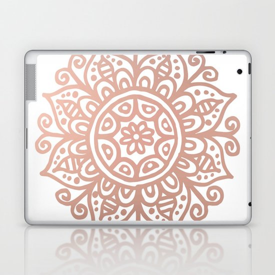 Rose Gold Floral Mandala by julieerindesigns