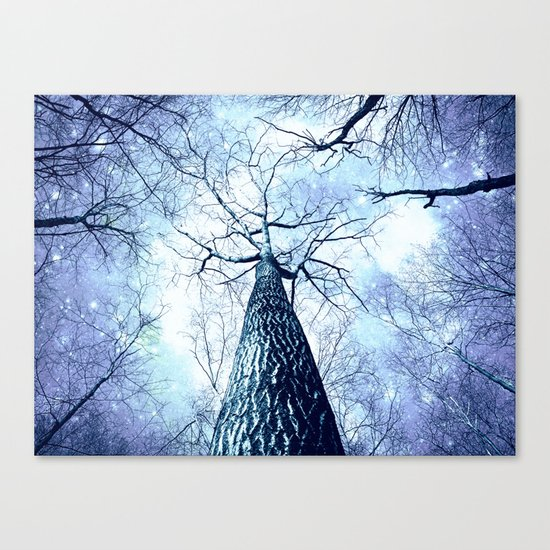 Wintry Trees Periwinkle Ice Blue Space Canvas Print