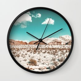 Vintage Desert Snow // Mojave Mountain Range at Red Rock Canyon in Las Vegas Landscape Photograph Wall Clock