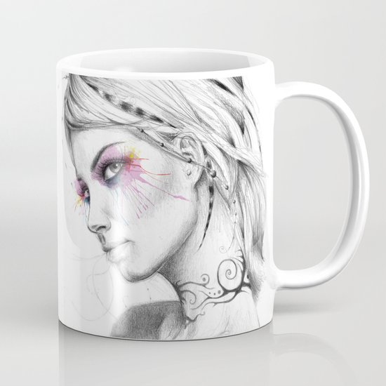 Beautiful Girl with Tattoos and Colorful Eyes Mug