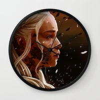 mother of dragons Wall Clocks featuring Mother of dragons by cloudyh