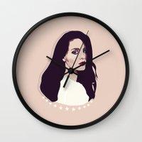 lana Wall Clocks featuring Lana by Anna McKay