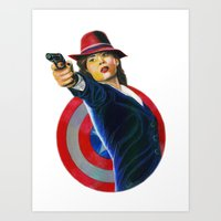 peggy carter Art Prints featuring Peggy Carter by Farah Jayden