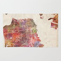 san francisco Area & Throw Rugs featuring San Francisco map by MapMapMaps.Watercolors