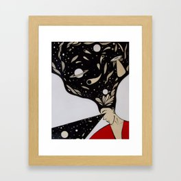 Space lady In Red Framed Art Print