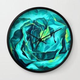 Turquoise Rose, green roses, flower art, dia de los muertos Wall Clock