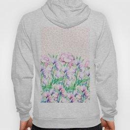 Pastel pink lavender watercolor floral animal print Hoody